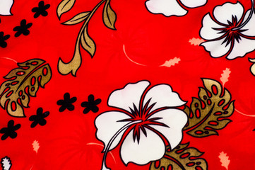 Cotton fabric texture, background, painted white flowers on a re