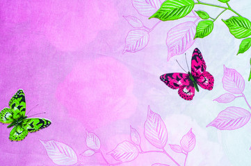 Texture, background. Cotton fabric flowers pink butterfly on a l