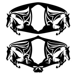 jumping horses black and white vector heraldic design set