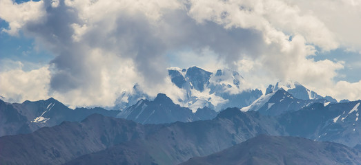 Panoramic view of the peak of Talgar. Mountain landscape in Kaza