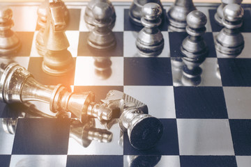playing chess game on the chess board the concept image of business