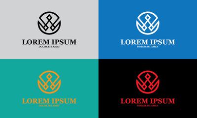 round geometry decoration vector logo