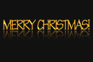 The inscription Merry Christmas, golden color.