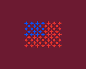 American flag made of stars. USA patriot vector logo. 4th july sign symbol.