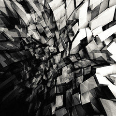 Shining polygonal fragments pattern, 3d