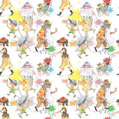 Walking, people, children, illustration, watercolor, seamless pattern