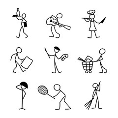 Cartoon icons set of different professions sketch people
