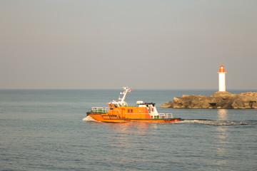 Pilot vessel leaving the port of Ventspils