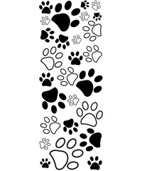Black white paw prints border