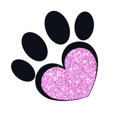 Paw print with sparkling heart