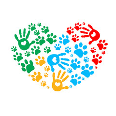 Paw in hands. Dog paw print made of colorful heart