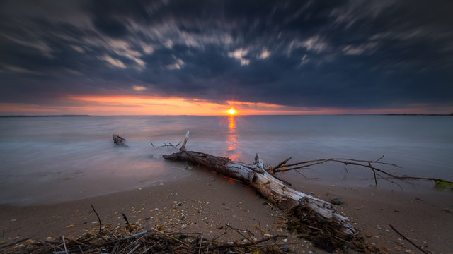 Drift wood long exposure sunset
