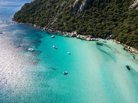 Aerial  view  of Santa Giulia beach in Corsica Island in France