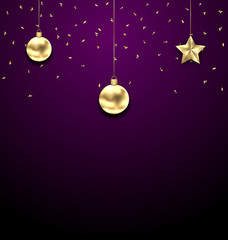 Christmas Golden Balls, Copy Space for Your Text