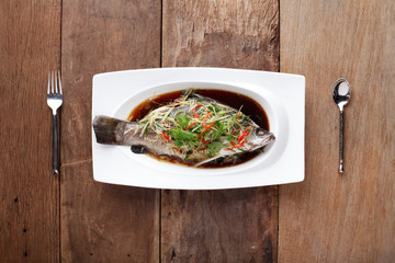 White Pomfret Steamed Dish with chinese sauce,Ready to eat. On T