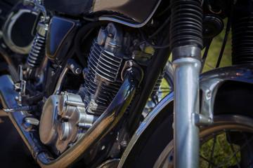 close up old vintage motorcycle cylinder block
