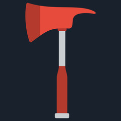 Firefighters emergency fire axe. Vector illustration of hatchet
