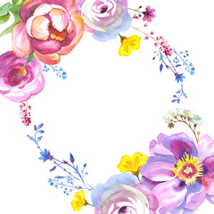 Wildflower rose flower frame in a watercolor style isolated
