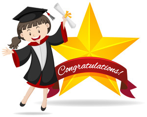 Congratulation sign with girl holding degree