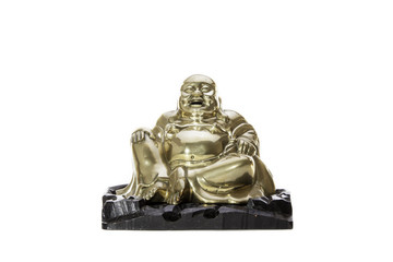Laughter. Traditional brass laughing monk buddha