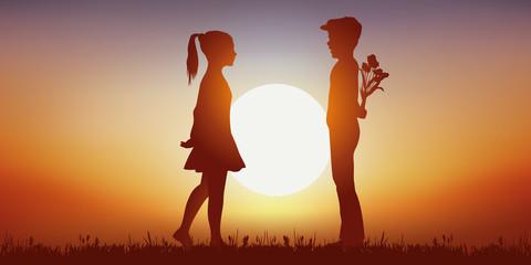 Amoureux - enfants - Coucher de soleil - romantique