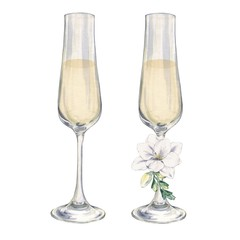 Champagne glasses with a flower. Watercolor painting. handmade drawing. For registration of festive cards, Invitations, postcards and posters.