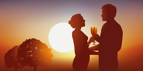 Amoureux - Couple - amour - Coucher de soleil