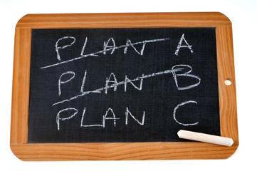 Plan C écrit sur une ardoise