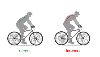 correct posture for cycling. vector illustration.