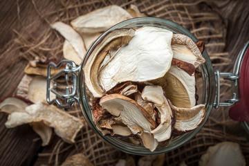 Dried mushrooms in jar.