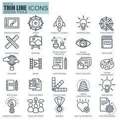 Thin line design tools, art and media icons