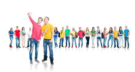Large group of teenage students on white