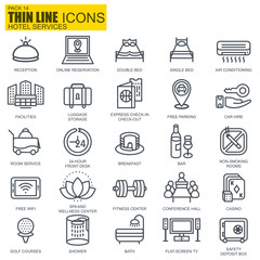 Thin line hotel services and booking icons