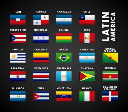 flags of latin america countries. colorful design. vector illustration