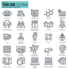 Thin line education, online training icons