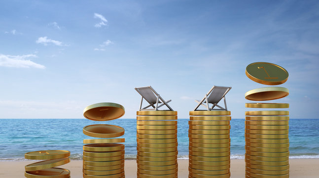 Coins on beach in travel budget and tourism business concept - 3d rendering