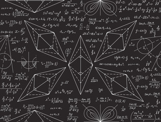 Mathematical vector seamless pattern with formulas, calculations, equations, handwritten with chalk on grey board
