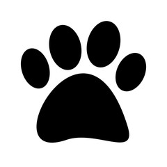 Stock Vector Black paw print tetradigitate on a white background
