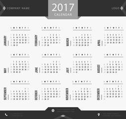 Simple black and white 2017 calendar, planner, organizer and schedule template for companies and private use