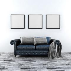 3d illustration a sofa in the interior. mockup