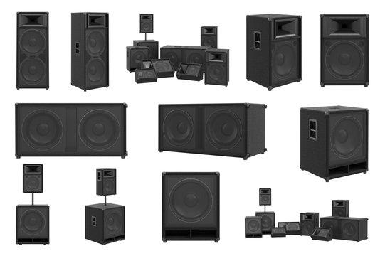 Speakers audio loud system modern black sound system set. 3D rendering