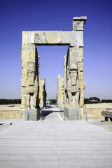 Giant lamassu statues guarding Gate of All Nations in ancient Pe