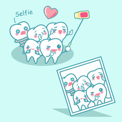 happy cartoon tooth are selfie