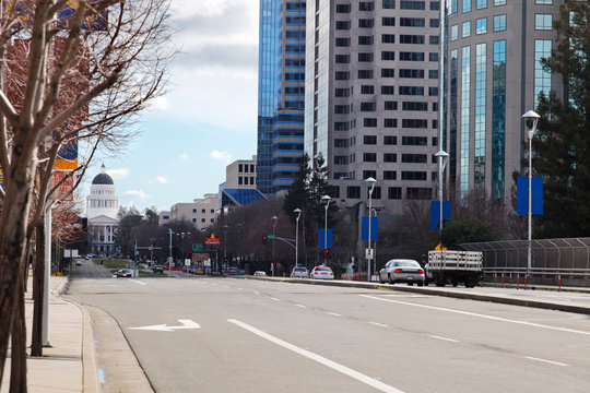 Capitol Mall in Sacramento, with the state Capitol in the distance