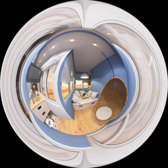 3d illustration spherical 360 degrees, seamless panorama of space to relax on the balcony. Interior is made in modern minimalist style