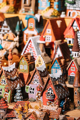 Traditional Souvenirs Small House Toys At European Market. Funny Souvenir From Tallinn, Estonia,