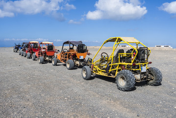 Beach buggies on tour on an excursion on the Canary Island Fuert