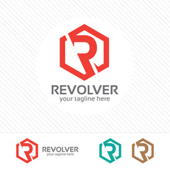 Letter R logo design vector . Simple flat color concept of letter R logo with hexagonal shape .