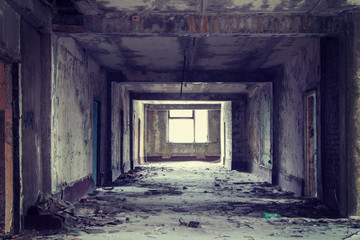 Inside abandoned building, lighting window Wall mural