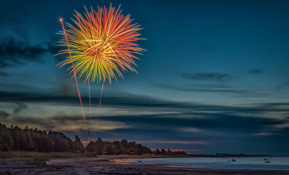 Long exposure photo of beautiful fireworks